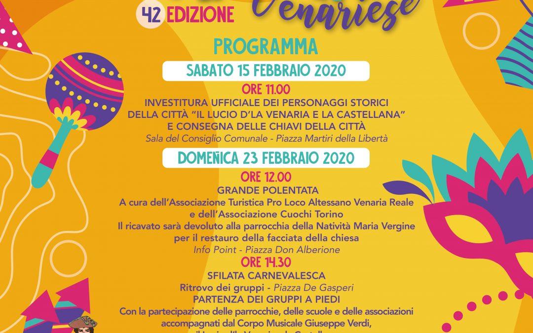 CARNEVALE VENARIESE, 42° edizione. 15 e 23 febbraio 2020